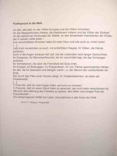 Armin T. Wegner: Funkspruch in die Welt